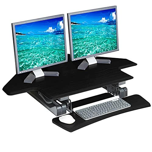 Seville Classics Airlift Height Adjustable Sit Desk Converter Workstation Standing Ergonomic Dual Monitor Riser with Keyboard Tray, Corner 43', Black