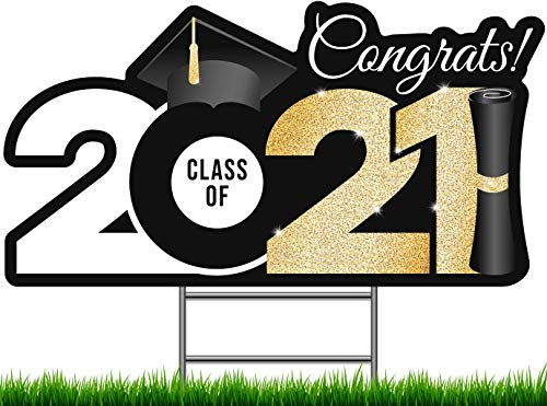 """PixiPy Graduation Yard Sign with Stakes Included - 17"""" x 8.5"""" Gold Graduation Lawn Sign - Black & Gold Happy Graduation Yard Sign - Outdoor Graduation Yard Decorations & Graduation Signs for Yard"""