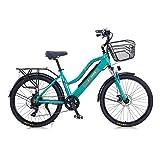 Hyuhome 2021 Upgrade Bicicletas eléctricas para Mujeres Adultas, Todo Terreno 26' 36V 250/350W 10A Bicicleta eléctrica montaña para Ciclismo al Aire Libre Viajes Ejercicio (Green, 350W)