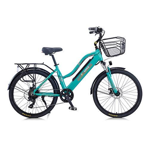 """Hyuhome 2021 Upgrade Bicicletas eléctricas para Mujeres Adultas, Todo Terreno 26"""" 36V 250/350W 10A Bicicleta eléctrica montaña para Ciclismo al Aire Libre Viajes Ejercicio (Green, 350W)"""