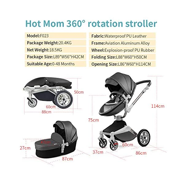 Hot Mom Pushchair 360 Rotation Function Baby Carriage Pu Leather Folding Portable Shockproof Travel System Pushchair Pram 2020(Dark Grey) HOT MOM 【360°ROTATION FUNCTION】 - The robust stroller frame can rotate 360°so that the pushchair attachments can be adjusted faster in both directions with one click.you can enjoy the mobility, flexibility and get the chance to discover the world with your baby 【INCREASE PU RUBBER WHEELS】 - The rear wheels use high-quality large tires, explosion-proof tires, puncture-proof, no inflation, front-wheel Pu rubber, non-slip, wear-resistant, with good shock absorption 【WATERPROOF PU LEATHER】 - Completely designed with Somatology Safety standard, 100% PU leather material of Egg Seat and Bassinet,High-grade waterproof,this perfect match feel more luxurious and fashionable and easy to clean.it can be easily cleaned with a wet wipe 4