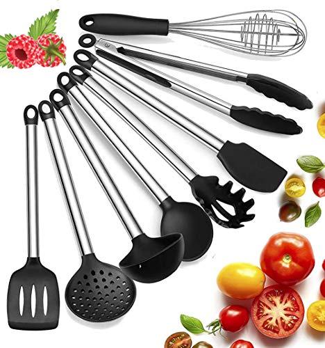 Küchenhelfer Küchenutensilien Set Silikon Küchenutensilien Küchenutensilien Home Kitchen Cooking Tools Küchenhelfer Utensilien Kochgeschirr Kitt, 8 Stück Schwarz