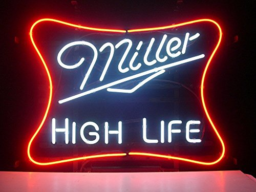 Urby Miller Lite High Life Real Glass Neon Light Sign Home Beer Bar Pub Recreation Room Game Room Windows Garage Wall Sign 18''x14'' ML05