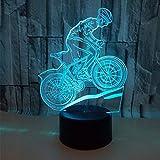 DFDLNL Toque Colorido 3D lámpara ilusión led luz de Noche USB lámpara de Mesa para niños bebé niños Regalo cabecera Dormitorio Bicicleta de montaña