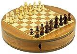 Woru Schach-Spiel rund aus Holz 30 cm - Holz-Spiel - Schachbrett, hochwertig, groß und magnetisch