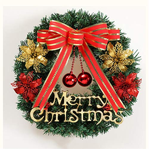 Wreath Lin Christmas, 40CM Environmental Protection PVC Flame Retardant Imitation Needles Bright Beads Christmas Decoration Rattan Pendant, Green (with Light) (Color : No Light)