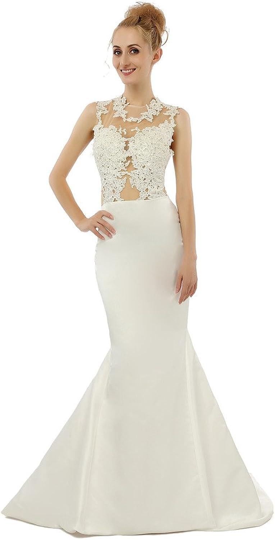 HONGFUYU Lace Satin Mermaid Wedding Dress Sexy Prom Evening Gown