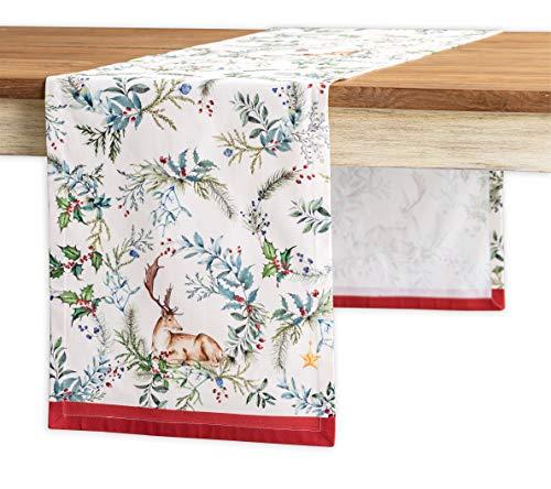 Maison d' Hermine Holly Time Chemin de table 100 % coton pour fêtes, dîners, vacances, cuisine, Thanksgiving/Noël (50 cm x 150 cm)