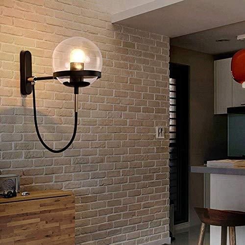 Eenvoudig te installeren, nordic glazen bol, retro, restaurant, eenvoudig, woonkamer, slaapkamer, bedlampje, stof, modern design, kunsthandwerk (kleur: brons), kleur: zwart