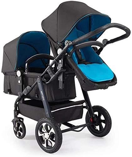 BESTPRVA Portátil cochecito de bebé del carro de bebé del cochecito tándem doble cochecito for bebés, niños pequeños o - 360 ° Encendido, reposapiés, 5 Puntos de cinturones de seguridad, Diseño plegab