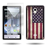 Sharp Aquos Crystal Hybrid Case and Screen Protector with (American Flag) Unique Design CoverON Tough Ultra Slim Protective Phone Cover for Sharp Aquos Crystal 306SH