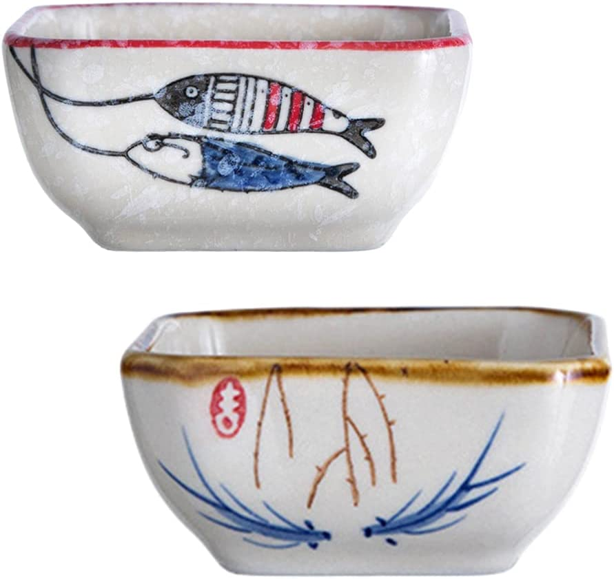 HEMOTON 2 pcs Dipping Sauce Dish Ceramic Soy Cups Serving Super Max 74% OFF sale period limited