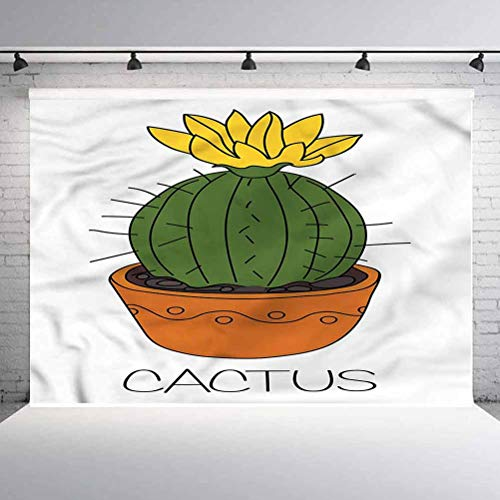 6x6FT Vinyl Backdrop Photographer,Cactus,Plant with Yellow Flower Background for Baby Birthday Party Wedding Studio Props Photography