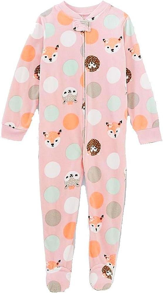 Girl's 4T Pink Dot Animal Footie Fleece Footed Pajama Sleeper