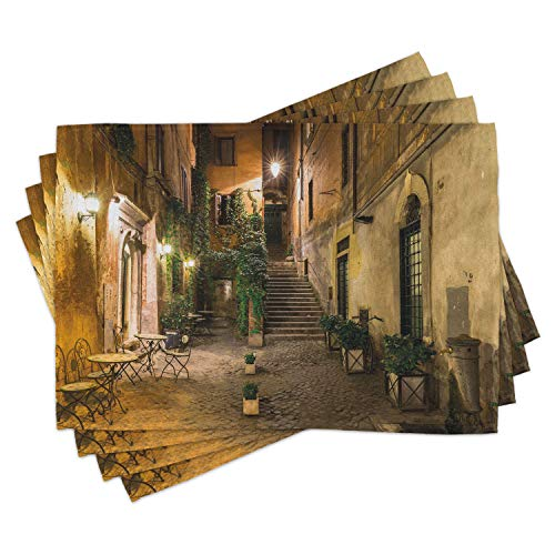 ABAKUHAUS Italienisch Platzmatten, Alter Hof Rom Italien Café-Stühle Stadt-historische Ambiente-Häuser Straße, Waschbare Stoff Esszimmer Küche Tischdekorations Digitaldruck, Hellgelb Grün