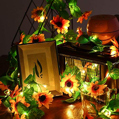 Artificial Sunflowers Garland String Lights 20 LED Warm White Fairy Hanging Lights Batteries Powered for Wedding Party Garden Decoration (A-sunflower, 6.56FT/20LED)