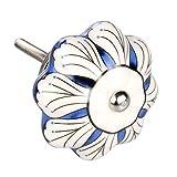 uxcell - Juego de 6 pomos de cerámica para armario, cajón o puerta, estilo vintage, estilo retro chic, color azul y blanco