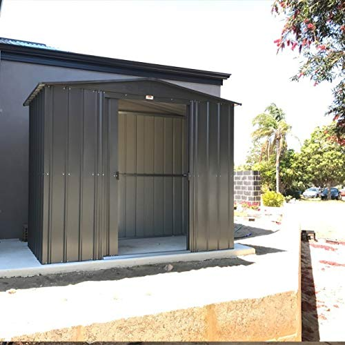 Lotus Anthracite Grey Metal Apex Roof Shed 8 x 5, 8x5