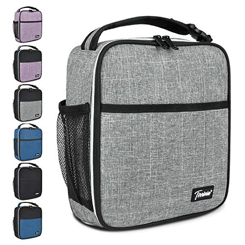 Small Insulated Lunch Bag for Men Women, Splash Proof Mini Portable Reusable Thermal Lunch Box Cooler Tote for Adults & Kids, Grey