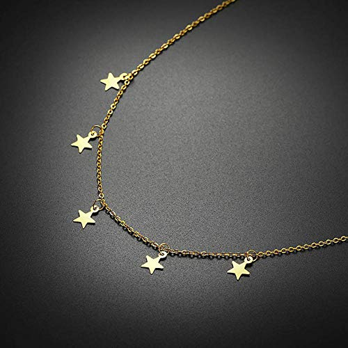 Necklace Pendant Chain Jewelry Gold Tone Coin Choker Necklace Women Stainless Steel Colar Accessories-Nc-405G