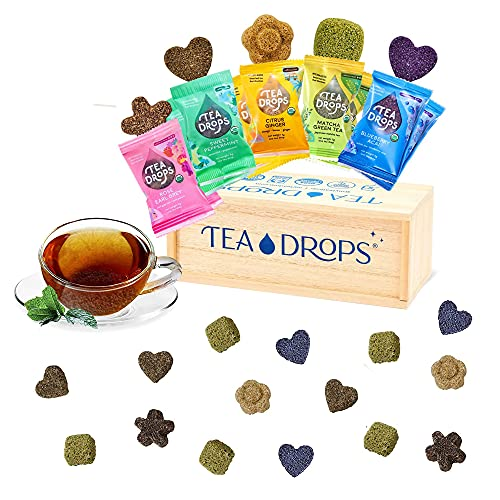 Tea Drops Party Pack of 25 Lightly Sweetened Loose Leaf Bagless Tea | On the Go Tea Assortment Including Citrus Ginger, Blueberry Acai, Rose Earl Grey, Sweet Peppermint, and Matcha | Tea Gift Set