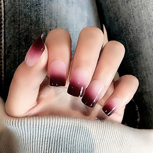 Ubright - Juego de 24 uñas postizas para mujeres y niñas, color rojo
