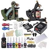 HAWINK Kit de tatuaje completo para principiantes Fuente de alimentación de tatuaje 2 Kit de máquina de tatuaje profesional 8 Juego de tinta de tatuaje Suministros de tatuaje TK-HW2006