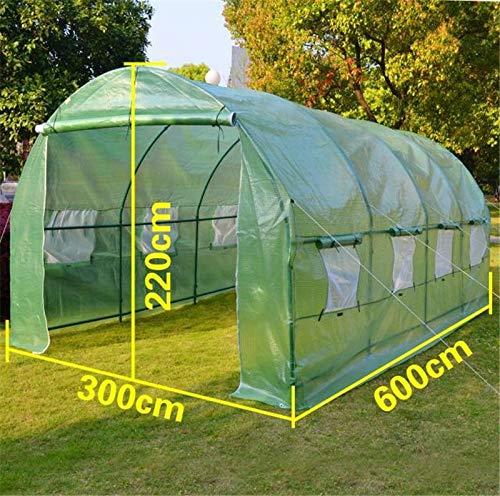 QWERTOUY Tuinbenodigdheden, afmetingen 6 m x 3 m x 2 m, sterk genoeg 36 kg/set Big Greenhouse tunneltent, tweedeurs met vensterboog, isolatieafdekking