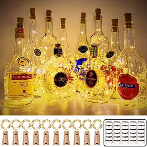 16 pezzi Luci per Bottiglia, Wanxida 2M 20 LED Tappi LED a Batteria per Bottiglie Filo di Rame Led Stringa Luce Fatata da Interni e Esterni per fai da te, Feste, Natale, Matrimoni- Bianco Caldo