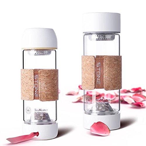 Maifan Stein Trinkflasche aus Glas, Edelstein Wasserflasche mit Teesieb, Gemstone Isolierflasche von Permano to go (370 ml)