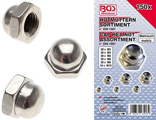 BGS 14130 | Hutmuttern-Sortiment | 150-tlg.