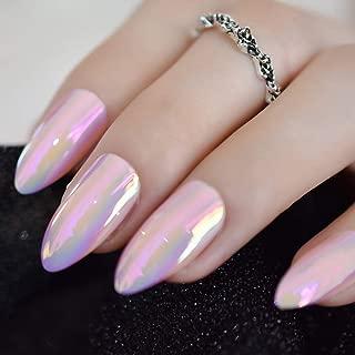 CoolNail Metallic Mirror Bright Pink False Stilettos Nail Mix Pink Metal Oval Stiletto Sharp Fake Nails Manicure Full Nails Art Tips