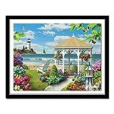 Malerei Diamant Voll Quadrat-Kreuz-Stich-Kits Diy Diamant Meer Garten Stickerei Landschaftsmalerei Needlework (Color : Square Diamond, Size : 75x55cm)