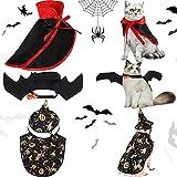 5 Piezas Sets de Disfraces de Mascota de Halloween Ala de Murciélago con Campana Capa de Bruja de Mascotas Capa de Disfraz de Vampiro Sombrero de Bruja de Mascotas para Gato Perro Pequeño