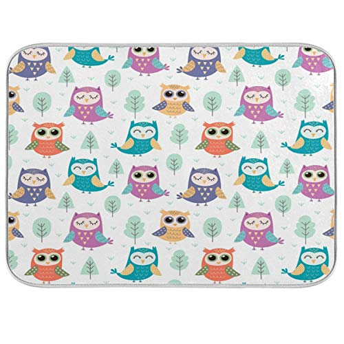 JUMBEAR Dish Drying Mat for Kitchen Counter, Tree Cute Owl Ultra Absorbent Reversible Microfiber Dishes Drying Rack Pad Heat-Resistant Mats 16x18in