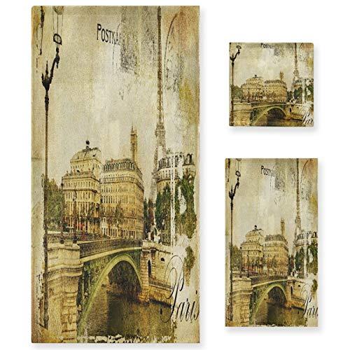 Naanle Juego de 3 toallas de baño vintage de París City para baño de algodón altamente absorbente, toalla de baño grande+toalla de mano+toalla, paquete de 3 toallas de suavidad para decoración