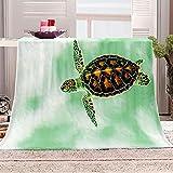 Flanelldecke Kuscheldecke Schildkröte grün Sherpa Decke 3D Gedruckt Warm Flauschige Decke TV-Decke Sofadecke Wohndecke Tagesdecke Kinderdecken 130x150cm