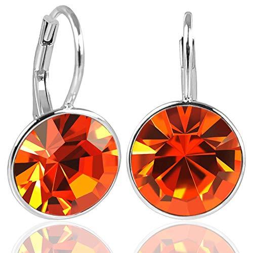 NOBEL SCHMUCK Silberohrringe Orange mit Kristallen von Swarovski® 925 Sterling Silver