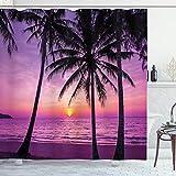 ABAKUHAUS Ozean Duschvorhang, Palmen Silhouette Lila, Bakterie Schimmel Resistent inkl. 12 Haken Waschbar Stielvoller Digitaldruck, 175 x 220 cm, Lila Schwarz