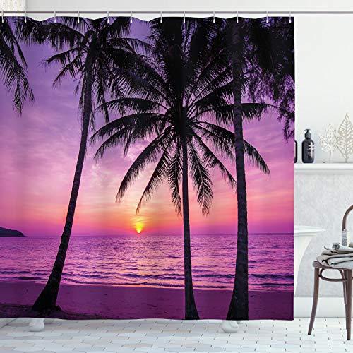ABAKUHAUS Ozean Duschvorhang, Palmen Silhouette Lila, Bakterie Schimmel Resistent inkl. 12 Haken Waschbar Stielvoller Digitaldruck, 175 x 200 cm, Lila Schwarz
