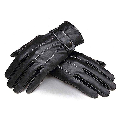 Minetom Homme Hiver Gants Super Chaude Gants De Doublé Cuir Plein Air Gants Noir