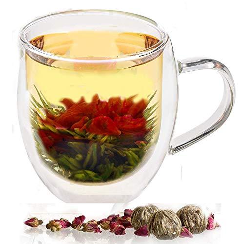 Tee-Geschenk Doppelwandige Glastasse 350ml / 12oz mit 2 blühenden grünen Tee-Bällen Blooming.Great Clear Doppelwand Isolierbecher zum Servieren von Kaffee, Tee, heißer Schokolade, Latte, Espresso