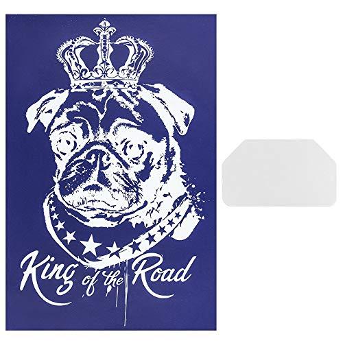 Ideen mit Herz Siebdruck-Schablone   Motiv + Schriftzug   32,5 cm x 22,5 cm   selbstklebend   inkl. Rakel   ideal für Textil, Holz, Glas, Keramik, Papier (Mops   King of The Road)