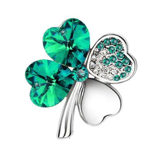 Klaritta Elegant Silver & Emerald Crystal Green 4 Leaf-Clover Jewellery Brooch Pin BR412