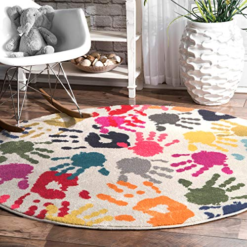 Multi Colored Handprint Round Carpet For Nursery Room