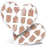 Impresionante 2 pegatinas de corazón de 7,5 cm – Casas de jengibre de Navidad divertidos calcomanías para portátiles, tabletas, equipaje, libros de chatarra, neveras, regalo genial #21590