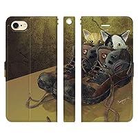 ブレインズ ベルトなし iPhone 12 mini 手帳型 ケース カバー 靴猫 ウエダマサノブ 猫 グッズ 縄文じいさん かわいい 子猫
