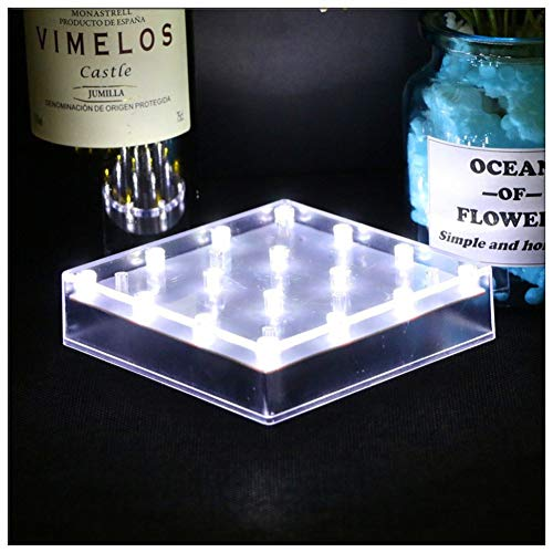 LACGO Acrylic 5'' Square LED Vase Base Plate Light, 16 Bright White LEDs, Operated with USB Connection or Battery-powed, for Home, Display Stand Table Centerpiece Decor(Clear Case, White, Pack of 1)