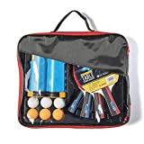 Braiton Conjunto De Tenis De Mesa con Red, 4 Raquetas + 6 Bolas/Pelotas De Tenis De Mesa + 1 Red Retráctil, Juego De Tenis De Mesa Portátil para Interior Al Aire Libre,Negro