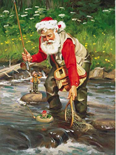 kecoci Rompecabezas para Adultos Rompecabezas de 1000 Piezas Pesca de Santa Claus Rompecabezas de Madera Juguete de Descompresión para Adultos Niños -50x70cm